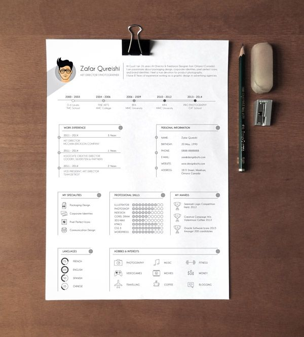 A4 Free Professional Resume Template Ai File (1.2 Mb