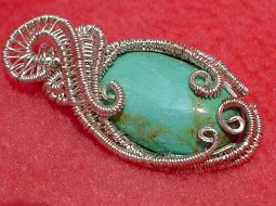 Custom wire wrapped Turquoise Pendant