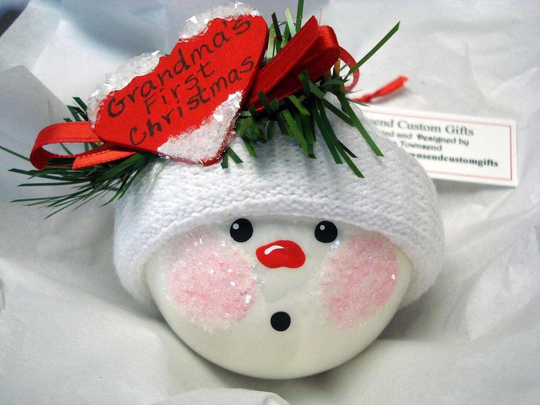 Grandma's 1st Christmas Ornament with Red HeartHandmade