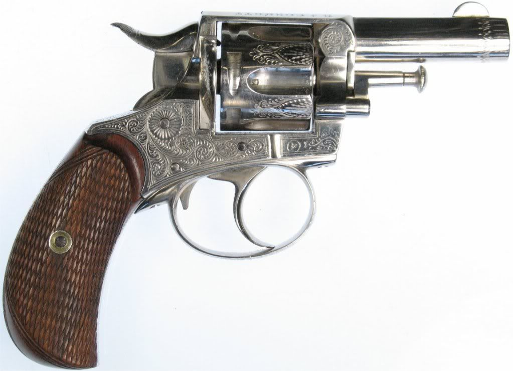 British bulldog type revolver. when Webley received an order for a very fancy 6 shot .320 bulldog, rather than tool up to make one (all Webley Bull Dogs are 5 shot), they simply got an unfinished one from Bland and delivered this to the dealer: