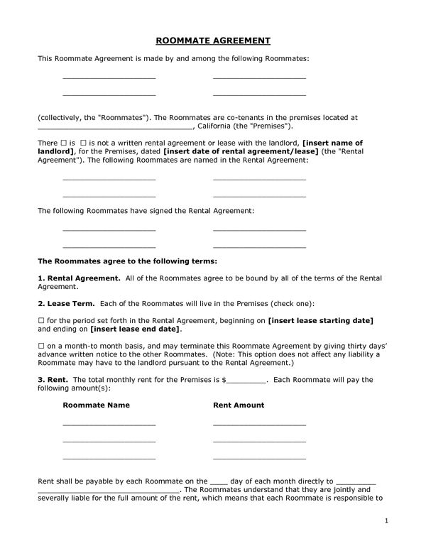 Generic Lease Agreement Printable Sample Roommate Agreement Form
