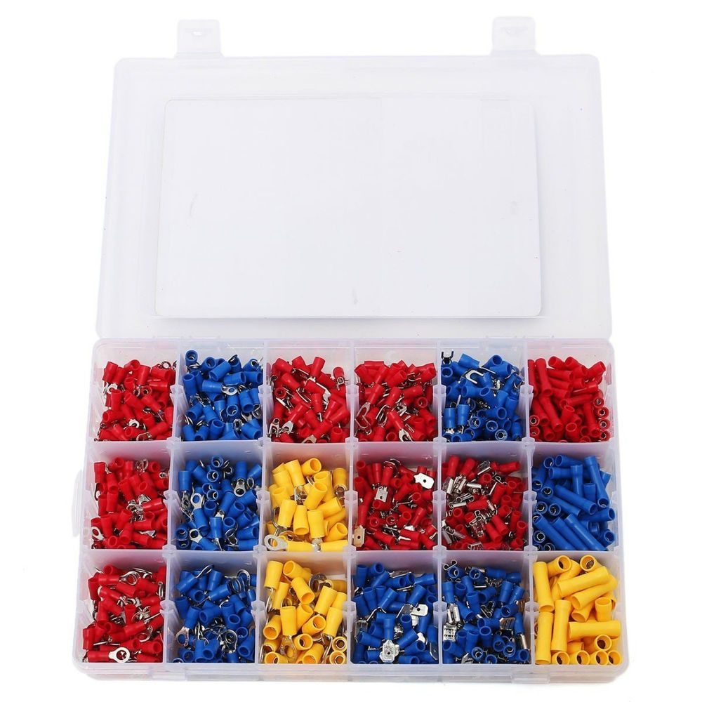 Assorted Insulated Electrical Wiring Wire Terminal Crimp Connector 1200pcs Kit Electrical Wire Connectors Wire Connectors Electricity