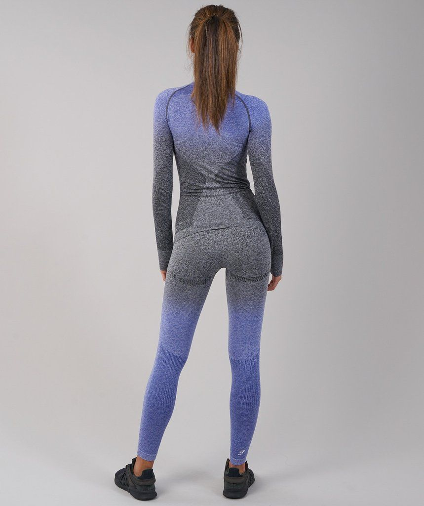 7e3b0dec65ff37 Gymshark Ombre Seamless Long Sleeve Top - Indigo/Black 2 | leggings ...
