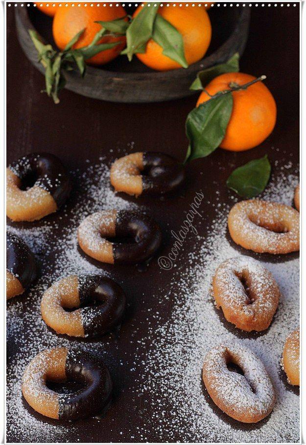 Rosquillas de naranja al chocolate {by Paula, Con las Zarpas en la Masa}