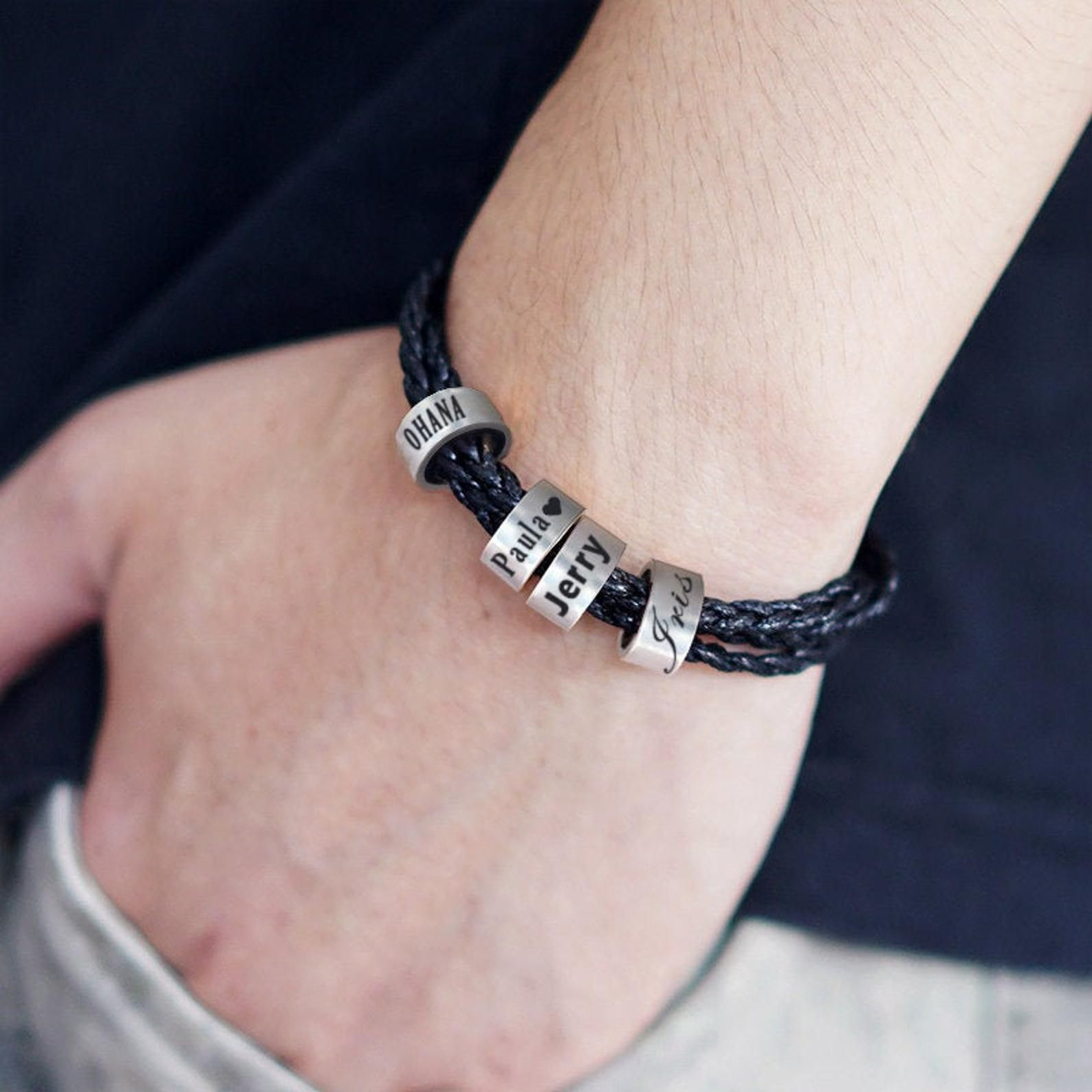 Personalized Mens Leather Bracelet, Custom Beads, Braid Name Charm Bracelet,  Custom Men Leather Bracelet, Bracelet for Men with Family Names | Braided leather  bracelet, Personalized leather bracelet, Personalized mens leather bracelet