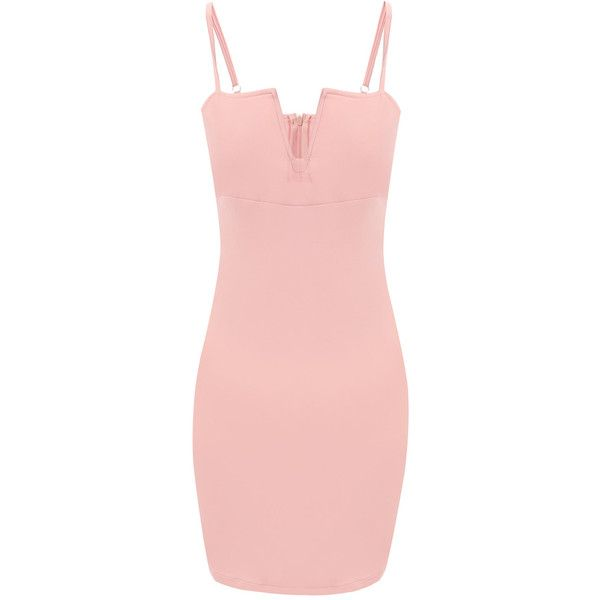 Yoins Pink Sexy V-neck Bodycon Cami Dress ( 14) ❤ liked on Polyvore ... 780a50120