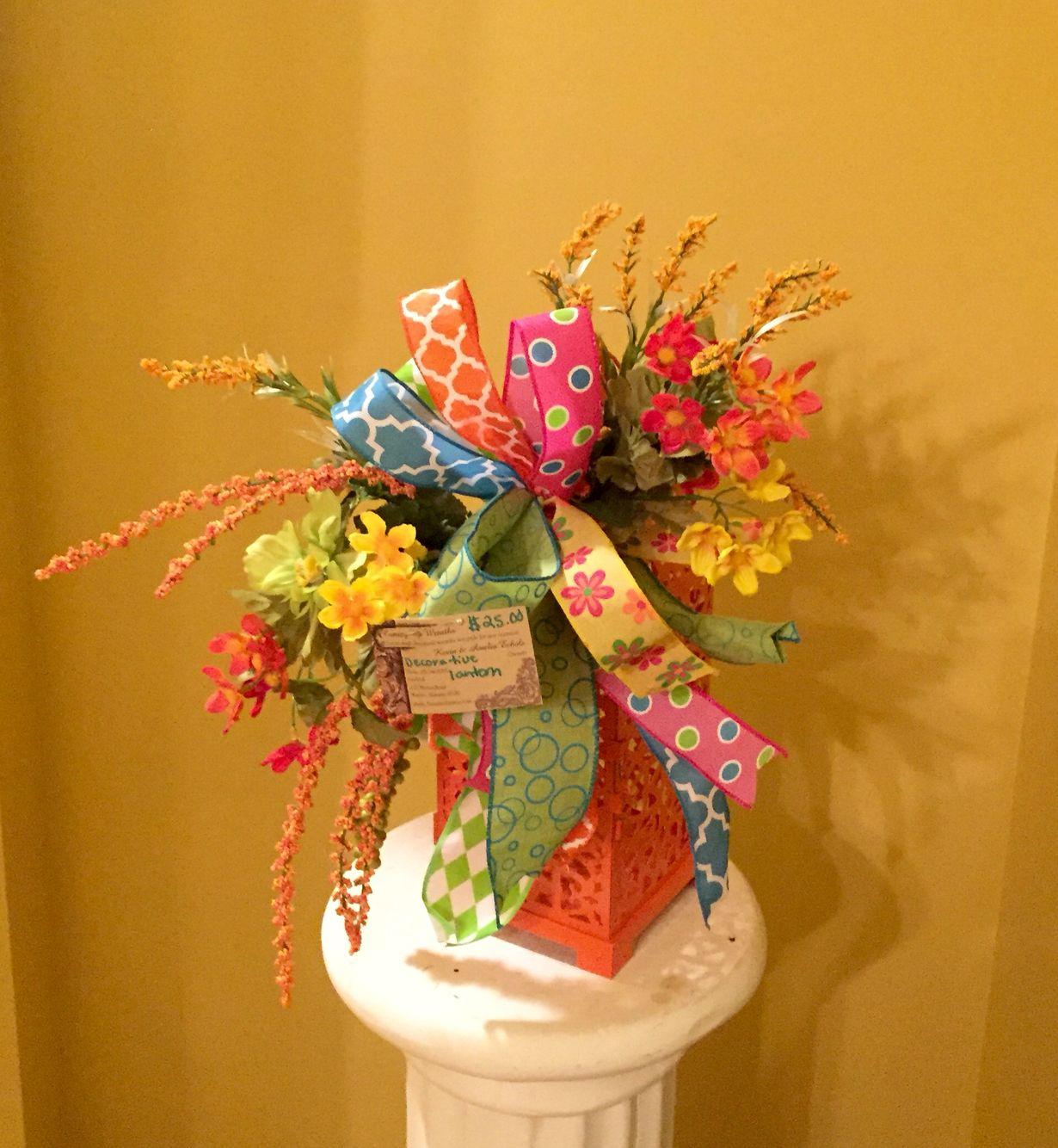 Spring/Summer lantern with silk flower swag. $25.00