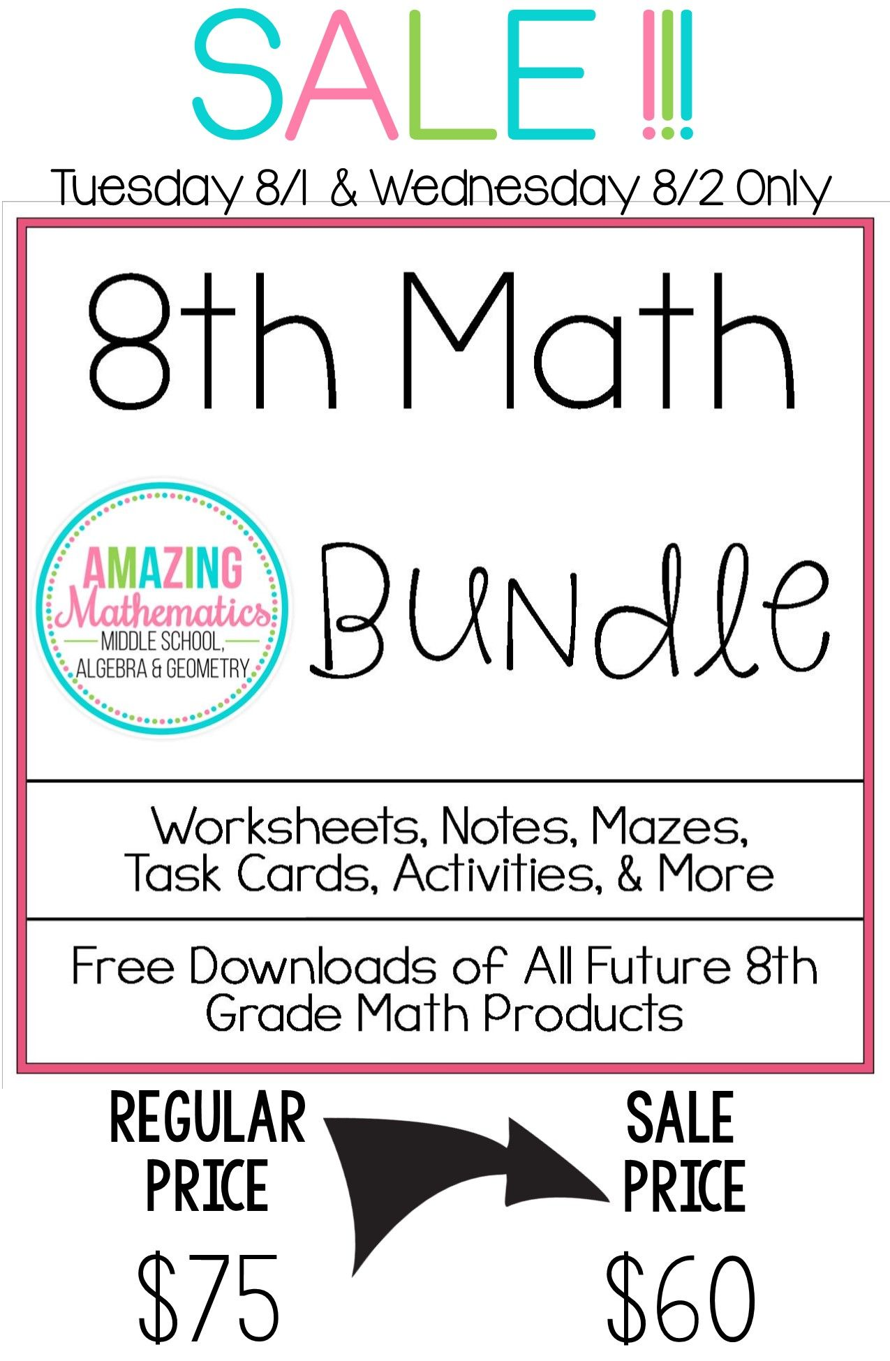 8th Grade Math Bundle ~ All My 8th Grade Math Products for 1 Low ...
