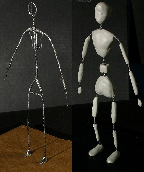 Claymation Armature Tutorial - After the wire armature is complete, I add magic sculpt, a 2 part resin that hardens in about 45 minutes. It can be smoothed with water, and becomes completely hard in about 6 hours. Once hardened, it may be drilled and carved. I will add a coat of acrylic paint, then add the clay. The acrylic paint prevents the clay from becoming discolored.