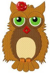Sleepy owl machine embroidery design. Machine embroidery design. www.embroideres.com