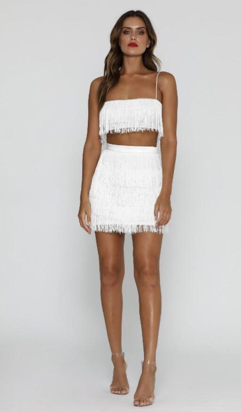 352d566ea2d Two pieces set fringe bandage top and skirt | lemonadah | White mini ...