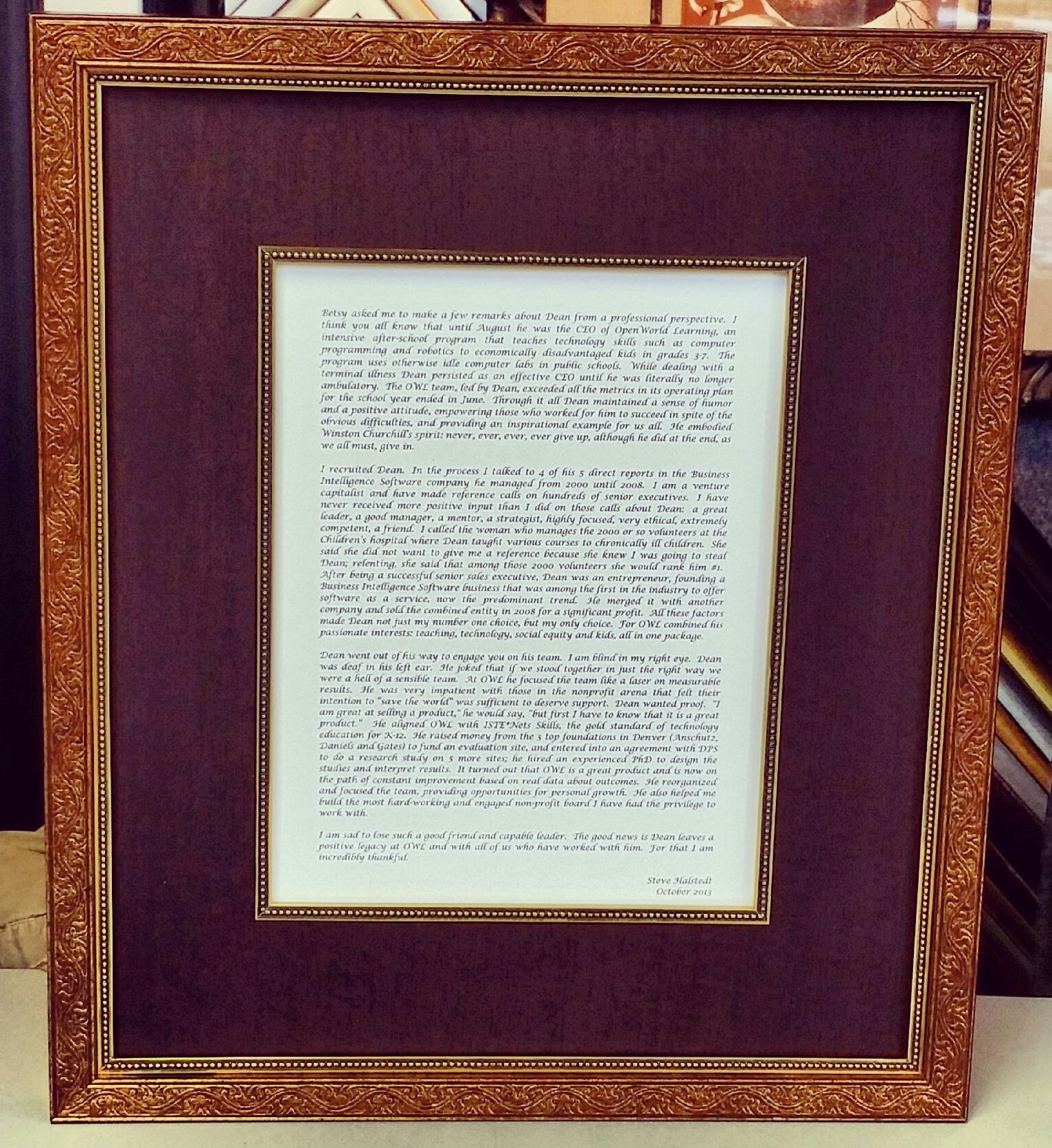custom framing ideas. Beautiful Eulogy Displayed Using A Custom Frame, Linen Matting, And Matching Fillet! # Framing Ideas