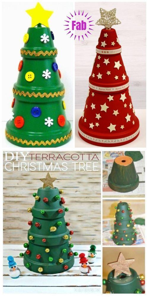 DIY Terra Cotta Flower Pot Christmas Decorations & Craft Tutorials - Clay Pot Christmas Tree DIY Tutorial