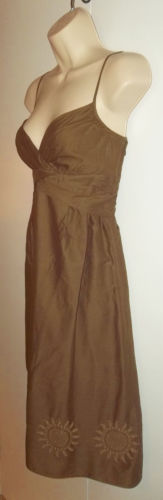 Ann Taylor Loft Petites Brown Embellished Embroidered Wrap Bust Dress 6P Lined | eBay
