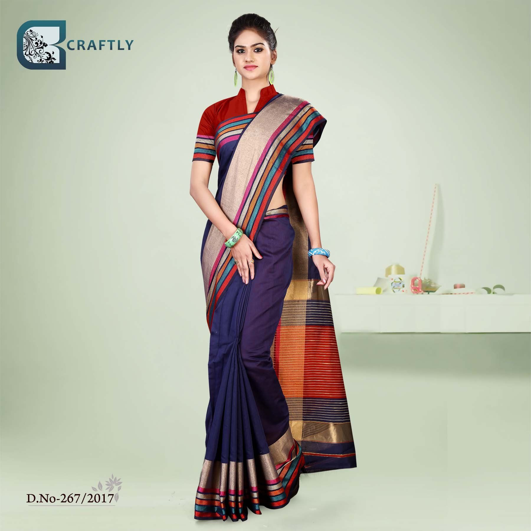 Blue with multicoloured border uniform saree appropriate as uniform blue with multicoloured border uniform saree appropriate as uniform sarees for hotel corporate uniform thecheapjerseys Gallery