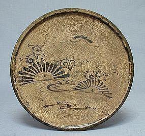 """Seto Andon Zara (Lantern Plate).  Aichi Prefecture. Circa 1700. 8-3/4"""" x 1""""."""
