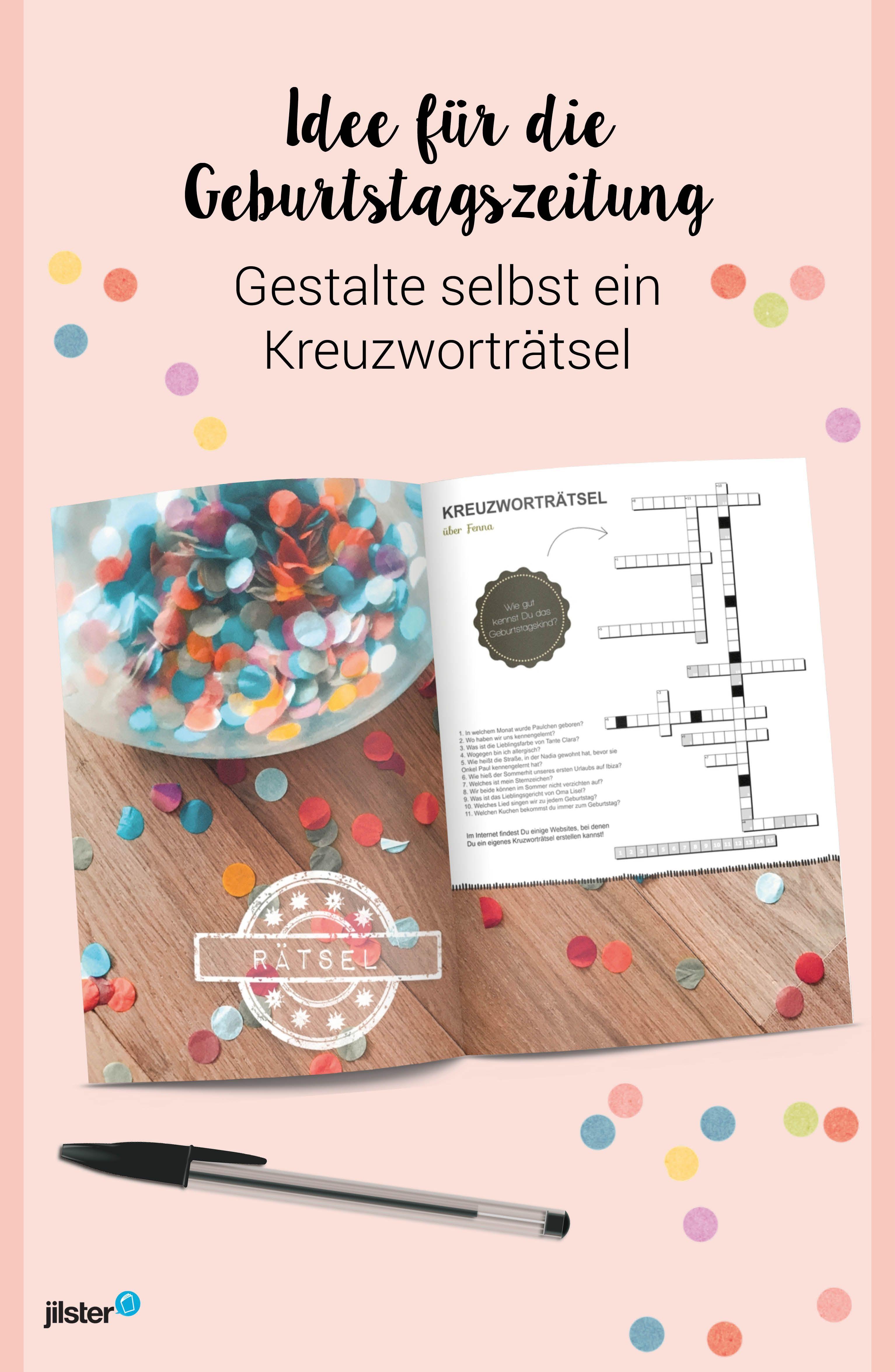 Ratsel Fur Die Selbst Gestaltete Geburtstagszeitung