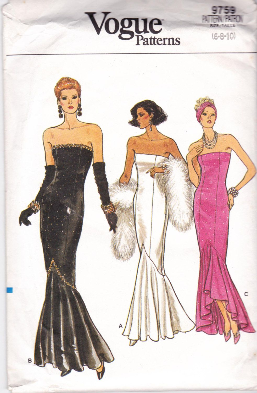 80s Vintage Sewing Pattern Vogue 9759 Strapless Prom