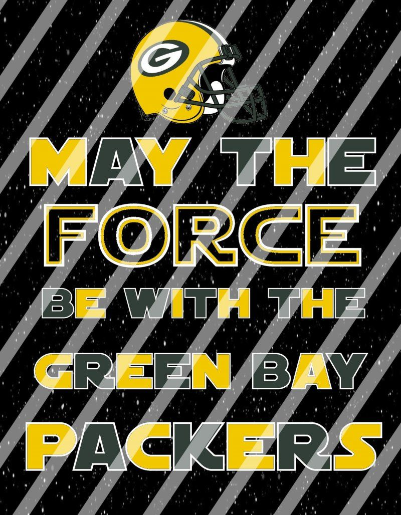Green Bay Packers Star Wars Force Wall Decor Sign instant