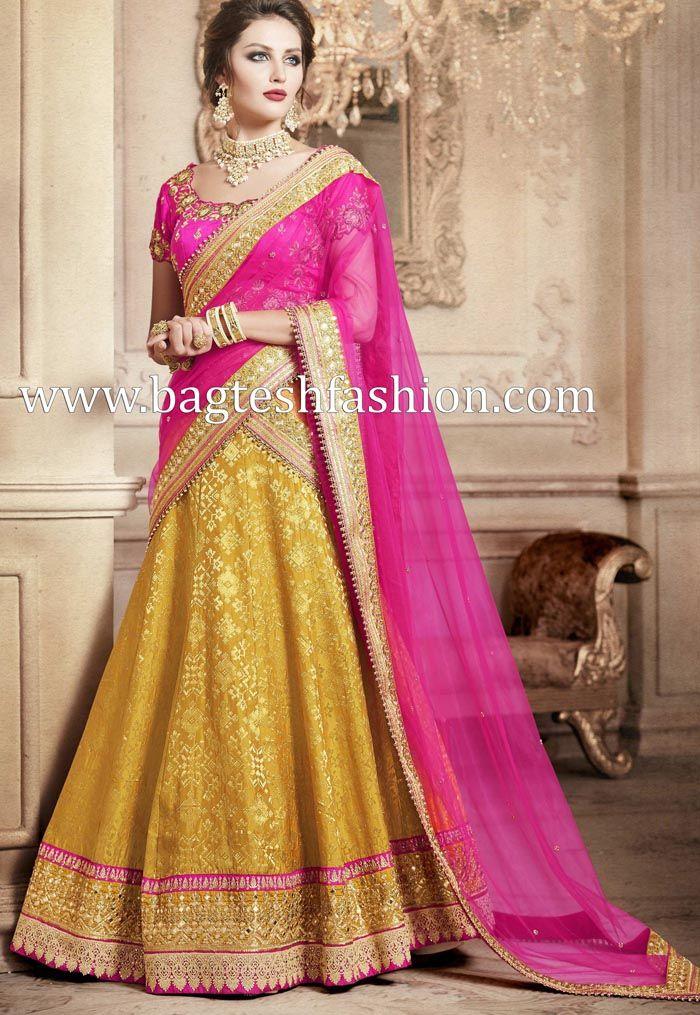 b3afad4506 Ultimate Pink And Yellow Lehenga Saree | Lehenga Sarees | Lehenga ...