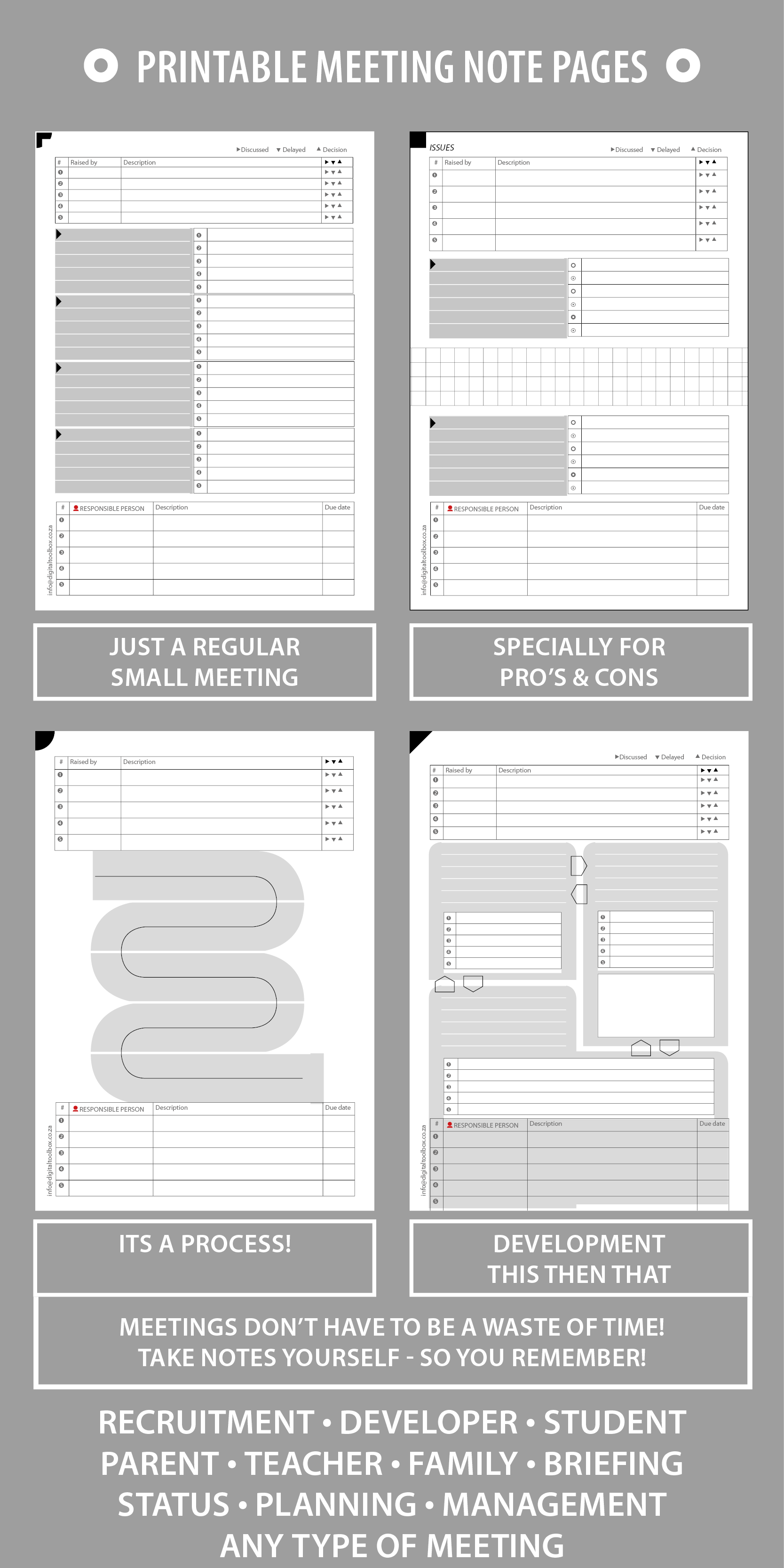 PRINTABLE Meeting Notes, Agenda/Record for Small