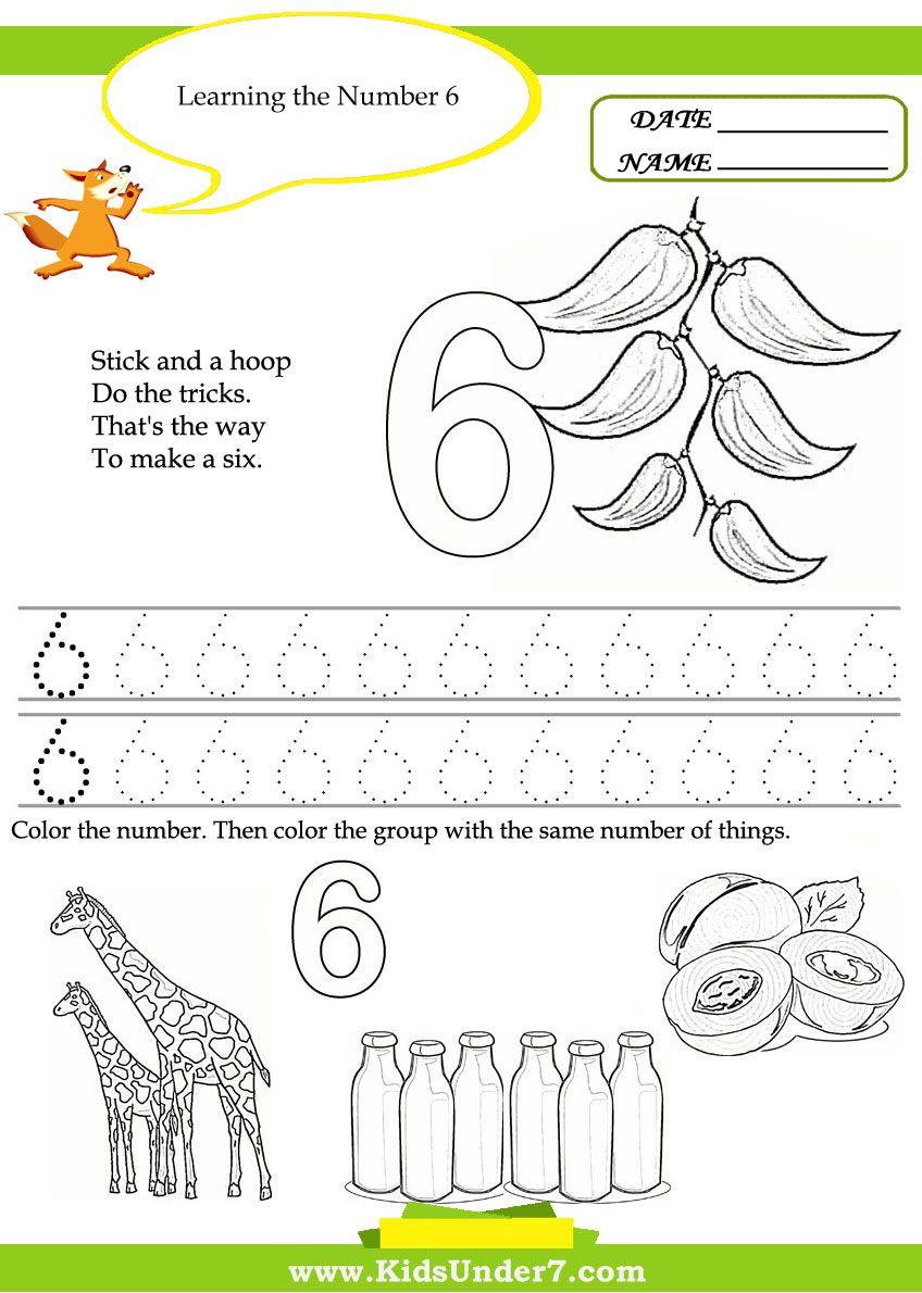 Kids Under 7 Free Printable Kindergarten Number Worksheets – Number 6 Worksheet