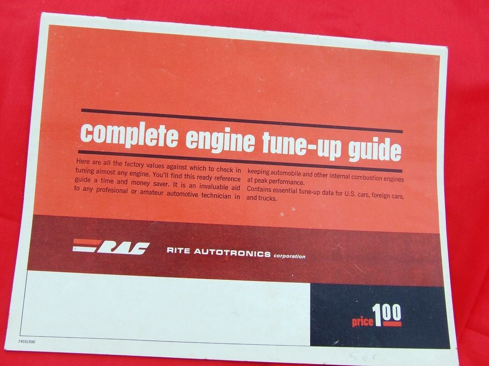 VINTAGE CAR ENGINE TUNE UP GUIDE 1965-74 FIRING ORDER CODES ETC ...