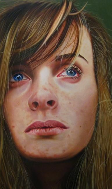 'Self-Portrait (I'm just a painter and I'm drawing a blank)' Oil on board by Joanna Yates