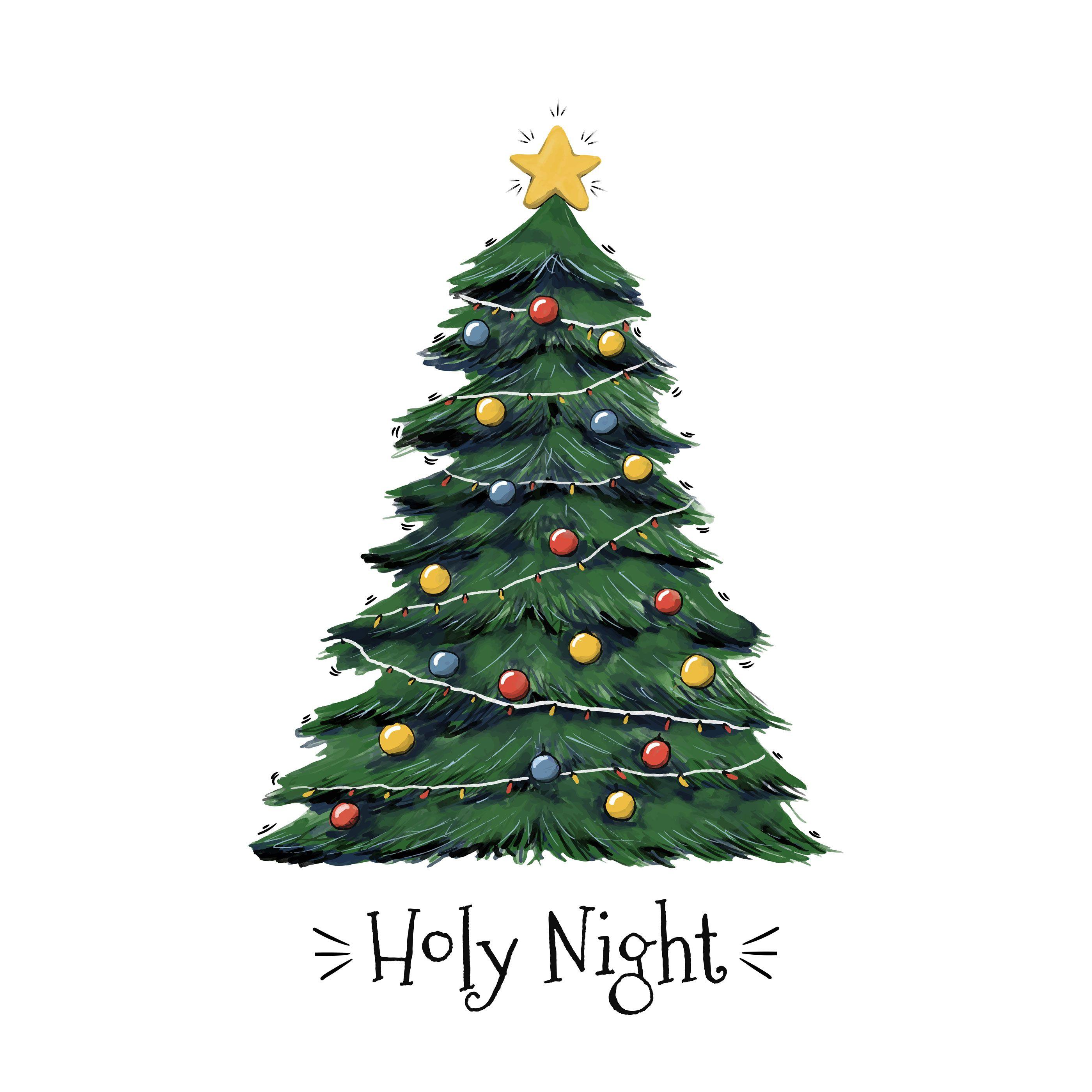 Holy Night Christmas Tree Vector Christmas Tree Drawing Christmas Paintings Christmas Watercolor