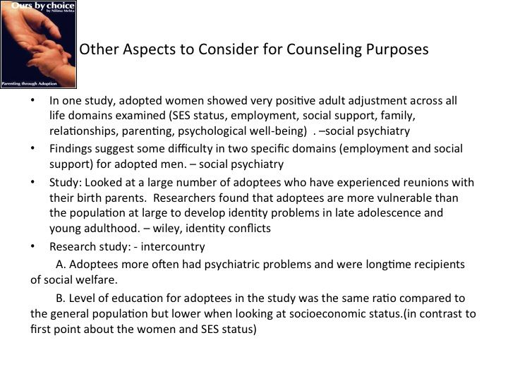 Other aspects to consider in counseling adopted adults