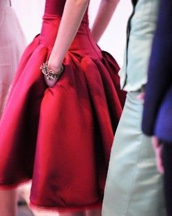 red dress on an insanely tiny waist