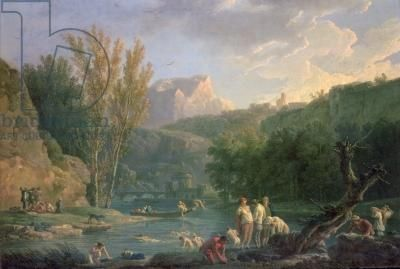River Scene with Bathers, 18th century (oil on canvas), Vernet, Claude Joseph (1714-89) Great article on River Bathing in the Georgian era at Jane Austen's World: http://janeaustensworld.wordpress.com/2012/07/08/river-bathing-in-the-georgian-era/#
