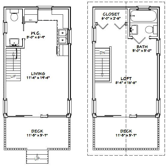 12x20 house w loft 12x20h1 460 sq ft excellent for Tiny house floor plans 8 x 20