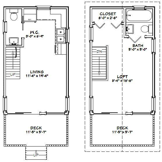 Garage Plans Blueprints 28 Ft X 28ft With Dormers: 12x20 House W/ Loft -- #12X20H1 -- 460 Sq Ft