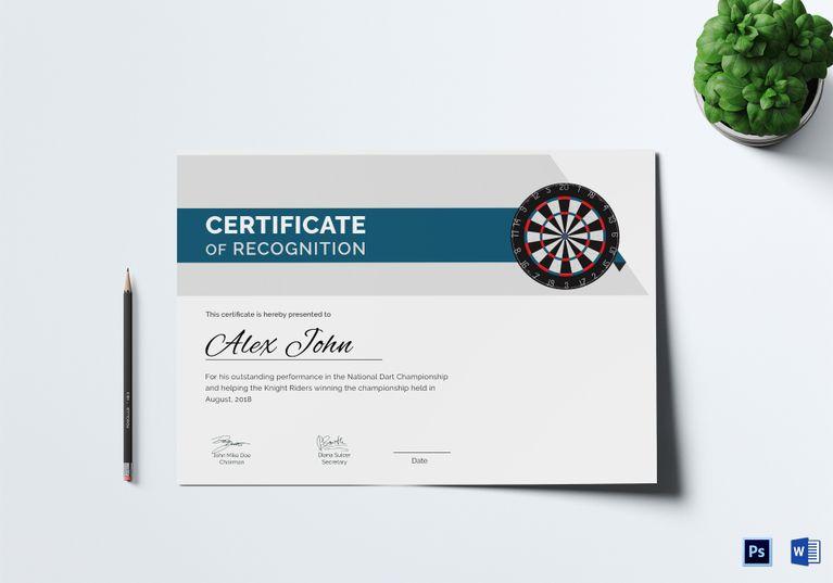 Certificate Of Darts Award Template Certificate Certificate