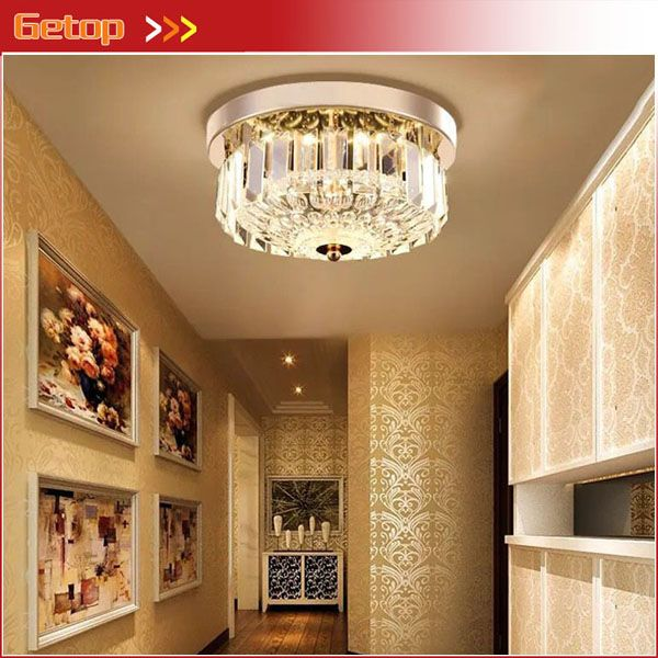 Modern Bedroom Led Crystal Ceiling Lamp Round European Restaurant Aisle Corridor Entrance Hall Lighting