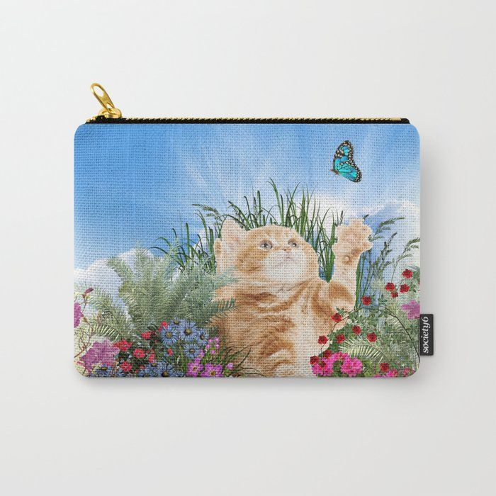Ginger Kitten Playing with a Butterfly Carry-All Pouch by justkidding