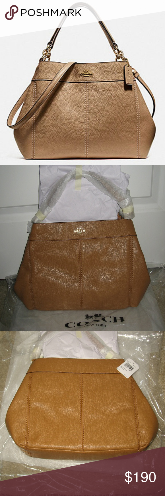 96f6354142 Coach Small Lexy F28992 Light Saddle Leather Bag Auth BNWT Coach Small Lexy  Bag. Refined