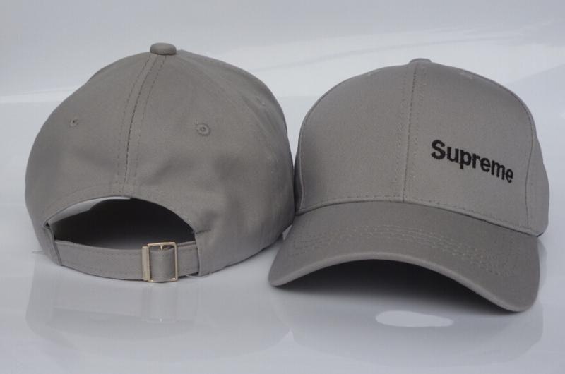0418d0d6d8f Mens   Womens Unisex Supreme 6 Panel Iconic Supreme Logo Strap Back  Baseball Adjustable Cap - Grey   Black