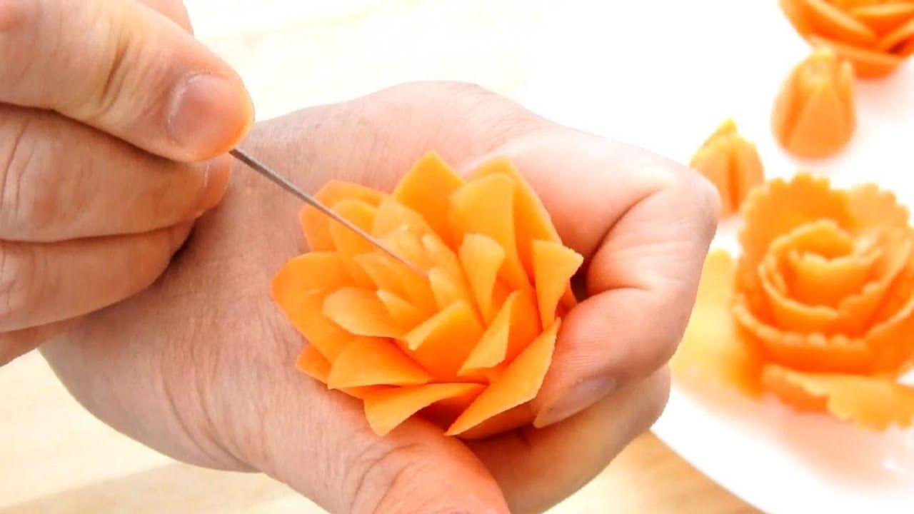 Vegetable carving garnish carrot rose flower salad u food