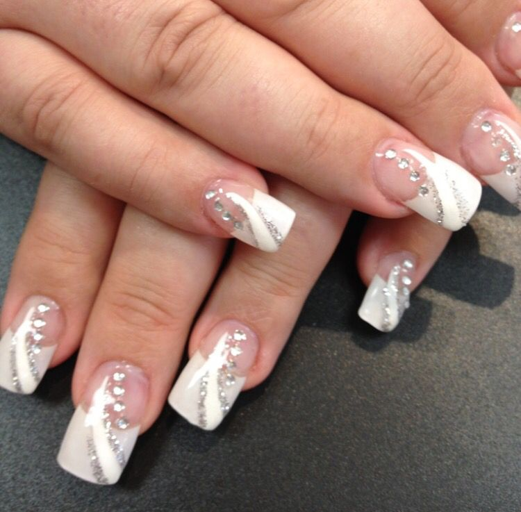 White With Rhinestones Nail Design White Tip Nail Designs French Nail Designs White Tip Nails