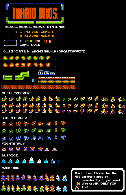 Nes Mario Bros General Sprites The Spriters Resource Mario