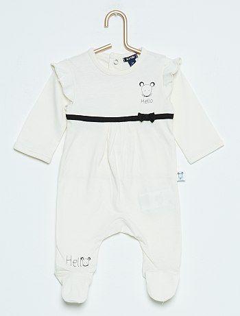 13163eed1a597 Pyjama à pieds imprimé  souris  écru Bébé fille - Kiabi