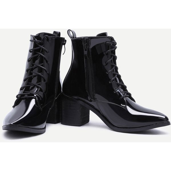 b4c6dc2ad3 SheIn(sheinside) Black Patent Leather Point Toe Lace Up Booties (57 AUD)