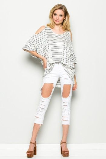 Cold Shoulder 3/4 Bell Sleeve Round Neck Striped Top   T1006   Annabelle