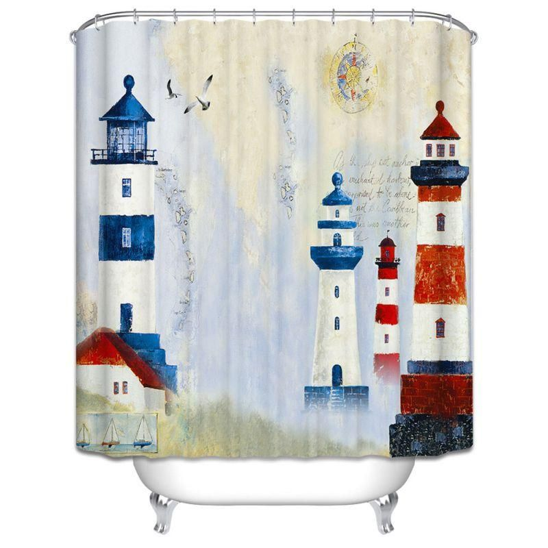 Lighthouse Shower Curtain With Hooks Sail Away Or Choose The More Natural