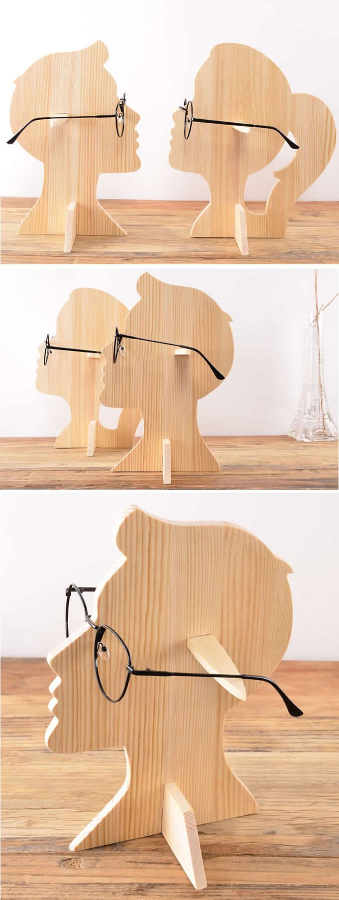 Human Head Shaped Wooden Sunglasses Glasses Holder Spectacle  # Muebles Sunnies
