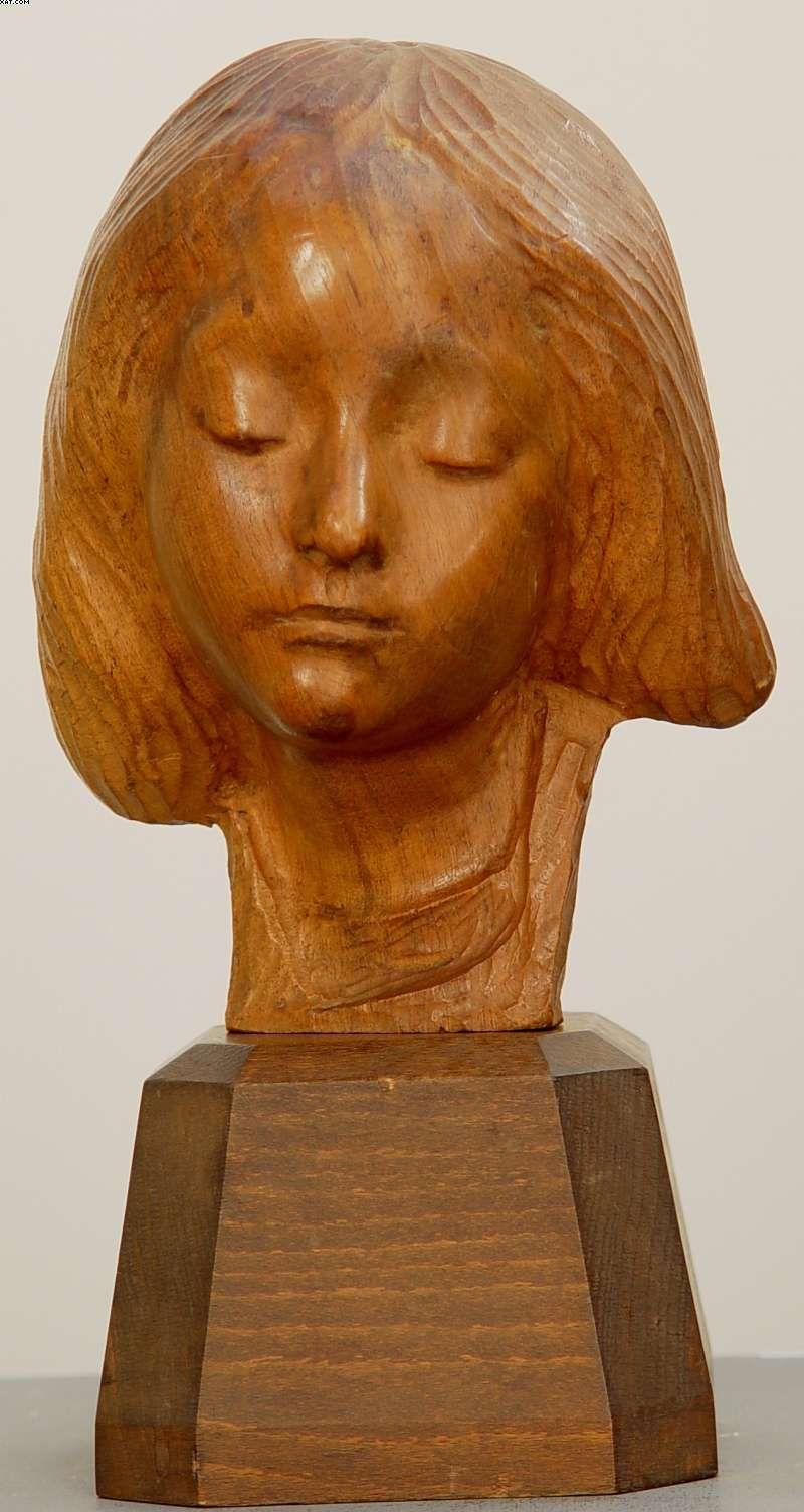 Art nouveau austrian circa quot young girl carved