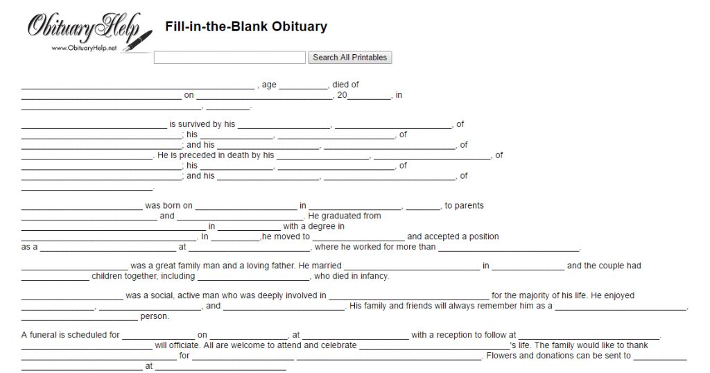 Check Out Obituaries Template Funeral Program Template Throughout Fill In The Blank Obituary T Obituaries Template Funeral Program Template Funeral Programs