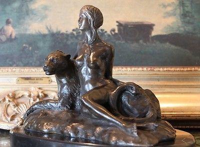 Nude Young Woman Big Cat Tiger Bronze Marble Statue Sculpture Elegant Unique